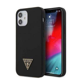 "كفر Guess Liquid Silicone Case w/ Metal Logo for iPhone 12 Mini (5.4"") - Black"