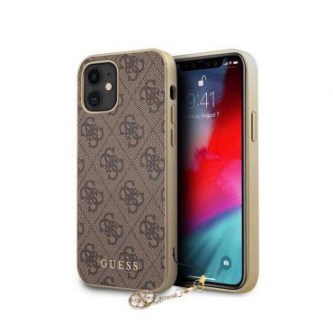 """كفر Guess 4G PU Case w/ Charm for iPhone 12 Mini (5.4"""") - Brown"""