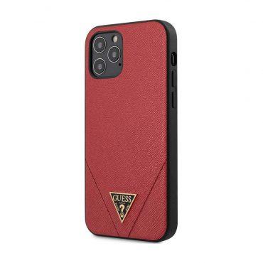"""كفر Guess PU Saffiano V Stitched w/ Metal Logo Case for iPhone 12 / 12 Pro (6.1"""") - Red"""