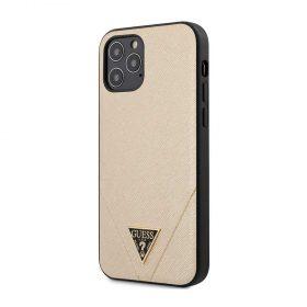 """كفر Guess PU Saffiano V Stitched w/ Metal Logo Case for iPhone 12 / 12 Pro (6.1"""") - Light Gold"""
