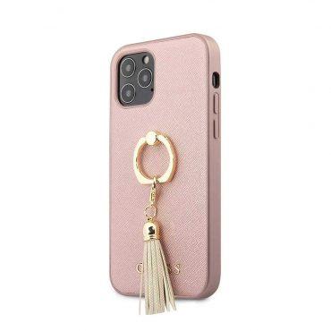 """كفر Guess PC/TPU Saffaino Collection Hard Case w/ Ring Stand for iPhone 12 / 12 Pro (6.1"""") - Pink"""