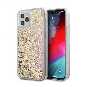 """كفر Guess Liquid Glitter 4G Pattern Gadient Background for iPhone 12 / 12 Pro (6.1"""") - Gold"""