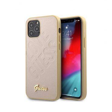 """كفر Guess PU Iridescent ``LOVE`` Debossed Case w/ Metal Logo for iPhone 12 Pro Max (6.7"""") - Light Gold"""