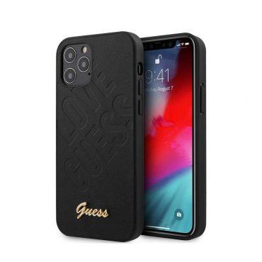 """كفر Guess PU Iridescent ``LOVE`` Debossed Case w/ Metal Logo for iPhone 12 Pro Max (6.7"""") - Black"""