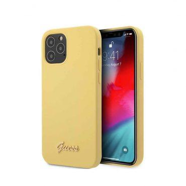 "كفر Guess Liquid Silicone Case w/ Metal Logo Script for iPhone 12 Pro Max (6.7"") - Yellow"
