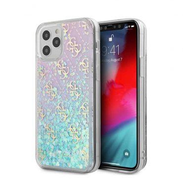 """كفر Guess Liquid Glitter 4G Pattern Pink Background Case for iPhone 12 Pro Max (6.7"""") - Iridescent"""