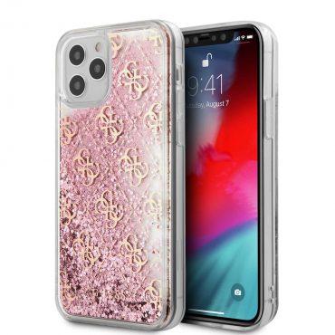 """كفر Guess Liquid Glitter 4G Pattern Case for iPhone 12 Pro Max (6.7"""") - Pink Gold"""