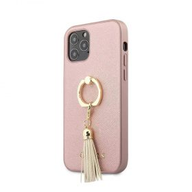 "كفر Guess PC/TPU Saffiano Collection Hard Case w/ Ring Stand for iPhone 12 Mini (5.4"") - Pink"