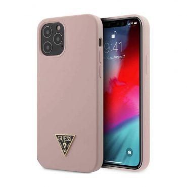 "كفر Guess Liquid SIlicone Case w/ Metal Logo for iPhone 12 Pro Max (6.7"") - Pink"