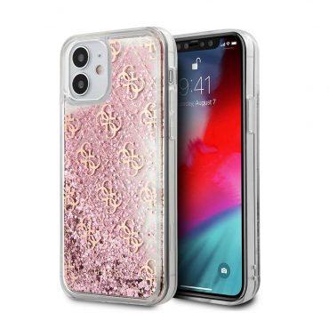 """كفر Guess Liquid Glitter 4G Pattern Case for iPhone 12 Mini (5.4"""") - Pink Gold"""
