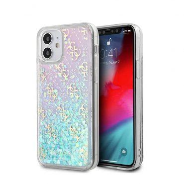 """كفر Guess Liquid Glitter 4G Pattern Pink Background Case for iPhone 12 Mini (5.4"""") - Iridescent"""