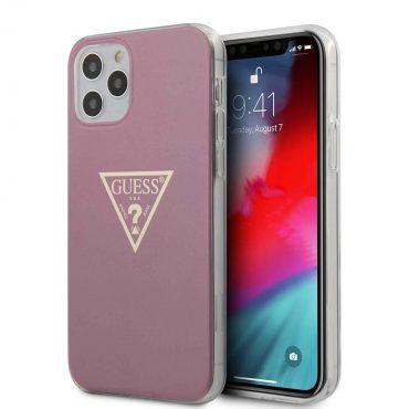 "كفر Guess PC/TPU Metallic Triangle Hard Case for iPhone 12 / 12 Pro (6.1"") - Pink"