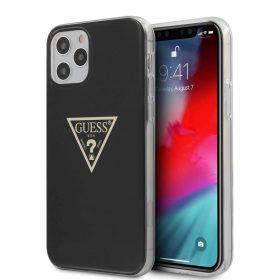 "كفر Guess PC/TPU Metallic Triangle Hard Case for iPhone 12 / 12 Pro (6.1"") - Black"