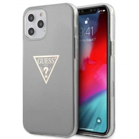 "كفر Guess PC/TPU Metallic Triangle Hard Case for iPhone 12 Pro Max (6.7"") - Gray"