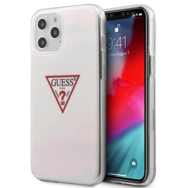 "كفر Guess PC/TPU Triangle Logo Hard Case for iPhone 12 Mini ( 5.4"" ) - White"