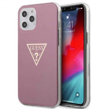 """كفر Guess PC/TPU Metallic Triangle Hard Case for iPhone 12 Pro Max (6.7"""") - Pink"""