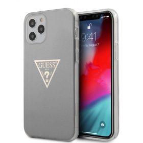 "كفر Guess PC/TPU Metallic Triangle Hard Case for iPhone 12 / 12 Pro (6.1"") - Gray"