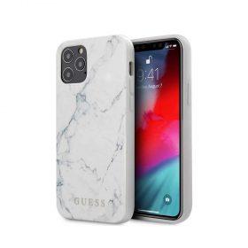"""كفر Guess PC/TPU Marble Design Case for iPhone 12 Pro Max (6.7"""") - White"""