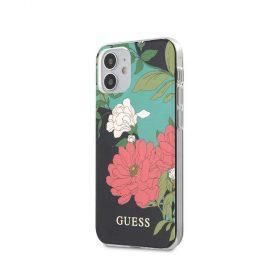 """كفر Guess PC/TPU Flower Collerction Shiny Pattern Case for iPhone 12 Mini (5.4"""") - Black"""