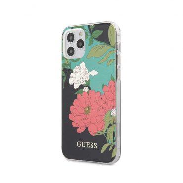 """كفر Guess PC/TPU Flower Collection Shiny Pattern Case for iPhone 12 / 12 Pro (6.1"""") - Black"""