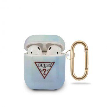 محفظة سماعات Guess TPU Tie and Die Case Electroplate Logo for Airpods 1/2 - Blue