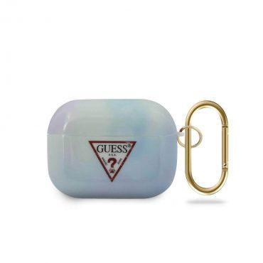 محفظة سماعات Guess TPU Tie and Dye Case Electroplate Logo for Airpods Pro - Blue