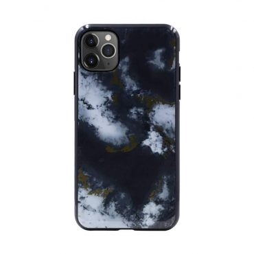 كفر رخام أصلي لآيفون 11 Pro Max من Habitu  - أسود داكن مزخرف