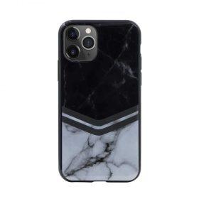 كفر رخام أصلي لآيفون 11 Pro من Habitu - أسود مع أبيض مزخرف