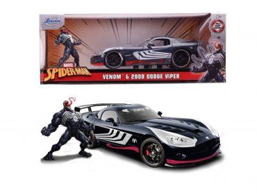 لعبة سيارة Jada - Marvel Venom 2008 Dodge Viper 1:24