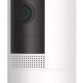 كاميرا Ring Stick Up Cam Battery لمراقبة داخل وخارج المنزل - أبيض