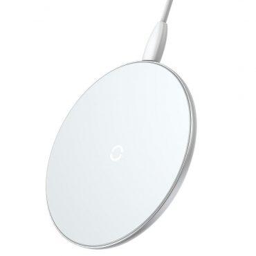 شاحن لاسلكي مغناطيسي Baseus Simple Mini Magnetic Wireless Charger أبيض
