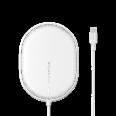 شاحن لاسلكي مغناطيسي Baseus Light Magnetic Wireless Charger أبيض