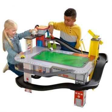 طاولة لعب والسباق KidKraft - Freeway Frenzy Raceway Set and Table with EZ Kraft Assembly