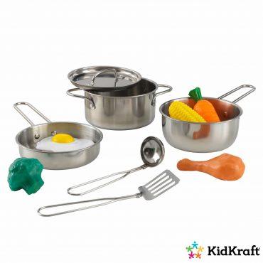 مجموعة أدوات الطبخ KidKraft - Deluxe Cookware Set with Food - فضي