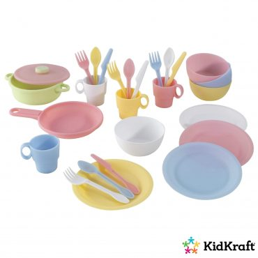 مجموعة أدوات تحضير الطعام KidKraft - 27-Piece Pastel Cookware Playset
