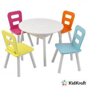 طاولة مع 4 كراسي للأطفال KidKraft - Round Storage Table & 4 Chair Set