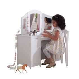 تسريحة اطفال KidKraft -Deluxe Vanity Table & Chair - أبيض