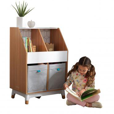 خزانة ألعاب KidKraft - Mid-Century Kid™ Bin Storage Unit – رمادي وخشبي