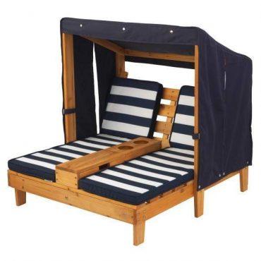 كرسيان KidKraft - Double Chaise Lounge with Cup Holders - كحلي / أبيض