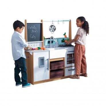 مطبخ للأطفال KidKraft - Farmhouse Play Kitchen with EZ Kraft Assembly - أبيض