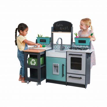 مطبخ للأطفال KidKraft - Garden Gourmet Play Kitchen with EZ Kraft Assembly - أبيض