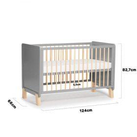 Kinderkraft Baby سرير أطفال خشبي + mattress grey