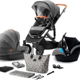 Kinderkraft عربة PRIME 2020 with car seat and accessoriess 3in1 grey + mommy bag