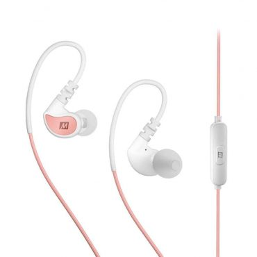 MEE Audio in-Ear Sports Headphones with Microphone and Remote- Coral and White_x000D_