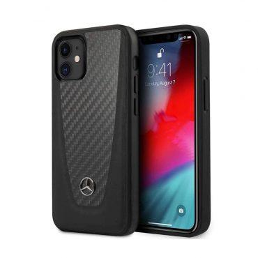 """كفر Mercedes-Benz Genuine Leather Hard Case Smooth Leather-Carbon Fiber and Metal Star Logo for iPhone 12 Mini (5.4"""") - Black"""