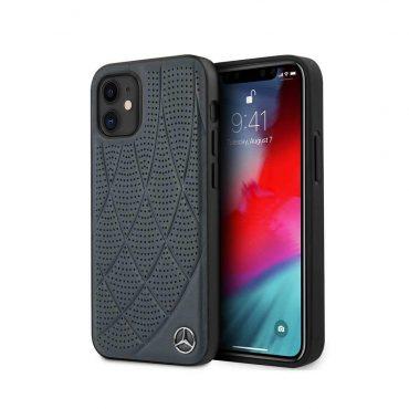 """كفر Mercedes-Benz Genuine Leather Hard Case Quilted Perforated Leather and Metal Star Logo for iPhone 12 Mini (5.4"""") - Abyss Blue"""