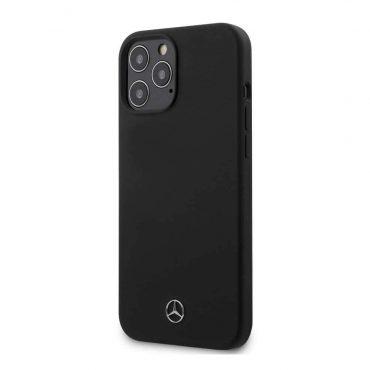 """كفر Mercedes-Benz Liquid Silicone Case with Microfiber Lining for iPhone 12 / 12 Pro (6.1"""") - Black"""