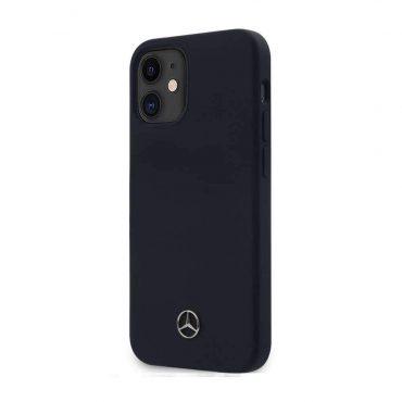 """كفر Mercedes-Benz Liquid Silicone Case with Microfiber Lining for iPhone 12 Mini (5.4"""") - Abyss Blue"""
