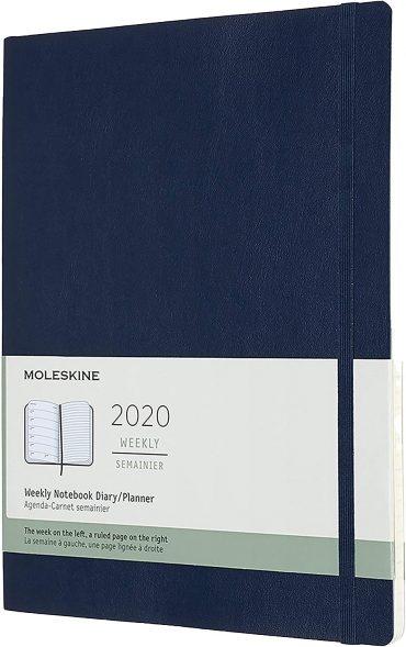 أجندة ملاحظات Moleskine - 12 Months Agenda Weekly Horizontal 2020   - أزرق ياقوتي