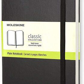 دفتر ملاحظات غير مسطر Moleskine - Classic Plain Paper Notebook - A5 - 240 صفحة / أسود